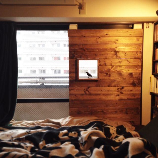 男性で、1LDK、一人暮らしの棚/壁/天井/一人暮らし/DIY/ディアウォール/ベランダ窓枠DIY…などについてのインテリア実例を紹介。「ベランダ窓の半分をディアウォールで壁に」(この写真は 2015-07-29 13:37:18 に共有されました)