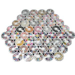 50 Wheels Combo Set Mixed Shape Nail Art Nailart Manicure Rhinestones Glitter Tips Decoration by Crazy Cart. $58.62. Features: 1. You can also use them to decorate your home, cell phone's case, glasses, made card, body art etc 2. New and high quality 3. Clean the surface of your nails, brush the base polisher, place it onto nails and seal with a clear top coat 4. They are easy to apply on natural or artificial nails, and also can decorate your cell phone, book, play...