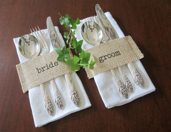 Bride & Groom Burlap Cutlery Holders - Silverware Holders - Mr and Mrs - Rustic Wedding Decor - Set of 2 on Etsy, $6.00