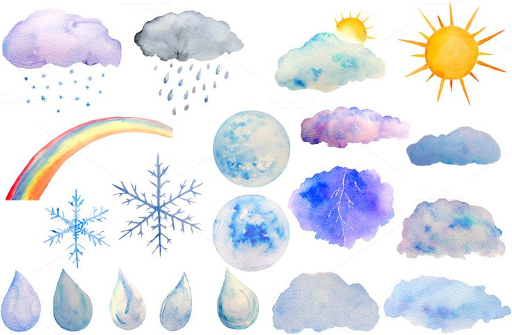 Watercolor Weather sun moon clipart by Corner Croft on Creative Market