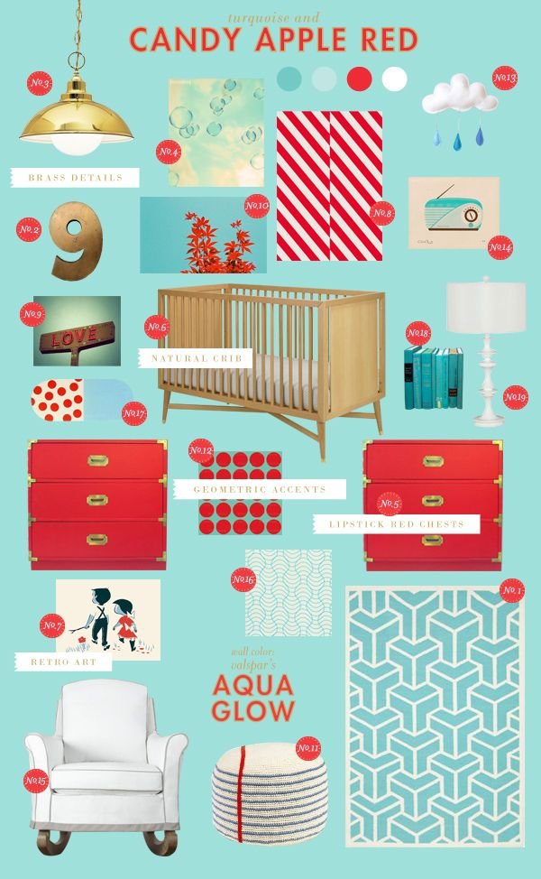 Red & turquoise nursery for new baby! Going to paint a new buffet/ changing table. Red w turquoise accents!