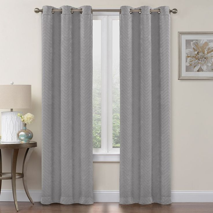 Regent Court 2-pack Chevron Blackout Curtain, Grey