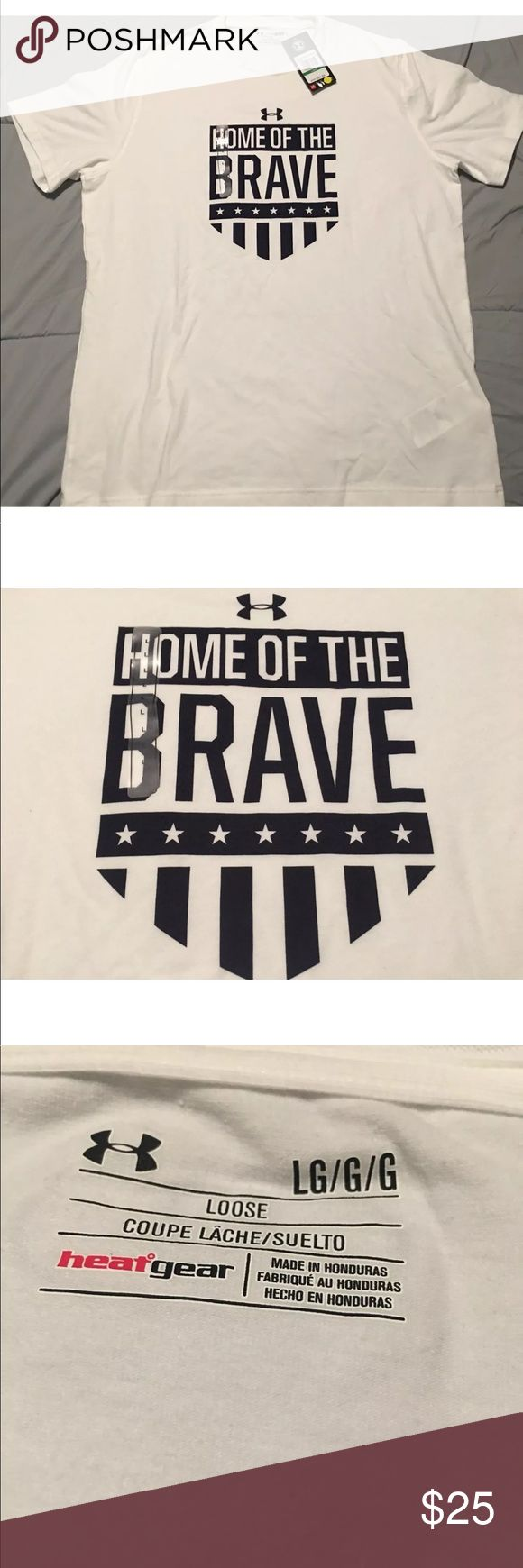 Under Armour Men's UA Home Of The Brave Tshirt Make a bold statement about your patriotic dedication in the Under Armour® Men's USA Home Of The Brave Graphic T-Shirt. Charged Cotton® fabric offers lightweight coverage and a super soft feel against your skin. Moisture-wicking properties work to eliminate sweat and keep you dry, while four-way stretch construction moves with you during any activity. Finished with a USA themed front graphic, the UA Home Of The Brave Tee is your next go-to top…