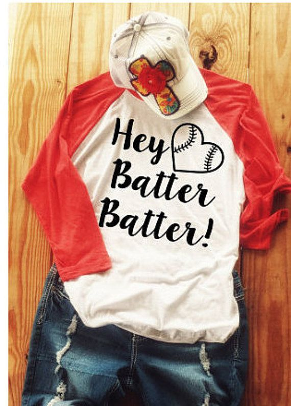 Hey Batter Batter Baseball Mom Shirt Softball by BlossomsbyRhonda