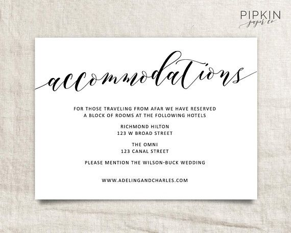 Wedding Accommodations Template Printable Accommodations