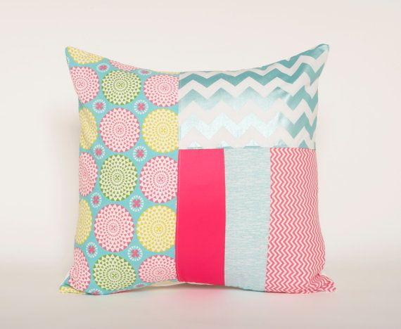 Bright Pillow Cover, Modern Decor, Patchwork Pillow, 20x20 Inches, Chevron, Girls Room, Living Room