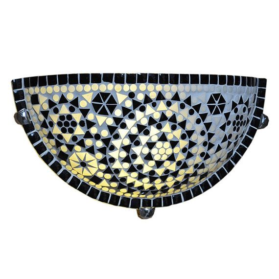 Mosaic wall light -  black & white glass mosaic - half moon shaped - traditional Indian design