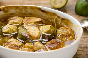 Whole roasted feijoas with honey and bay leaves – Recipes – Food Hub