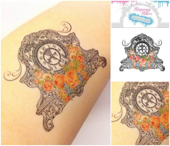 Vintage Clock Temporary Tattoo's  Spring by HilliaryCustomLiving, $4.00