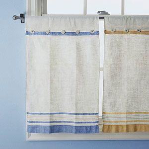 Tea towel curtains. I need to make some for the kitchen out of some vintage ones.