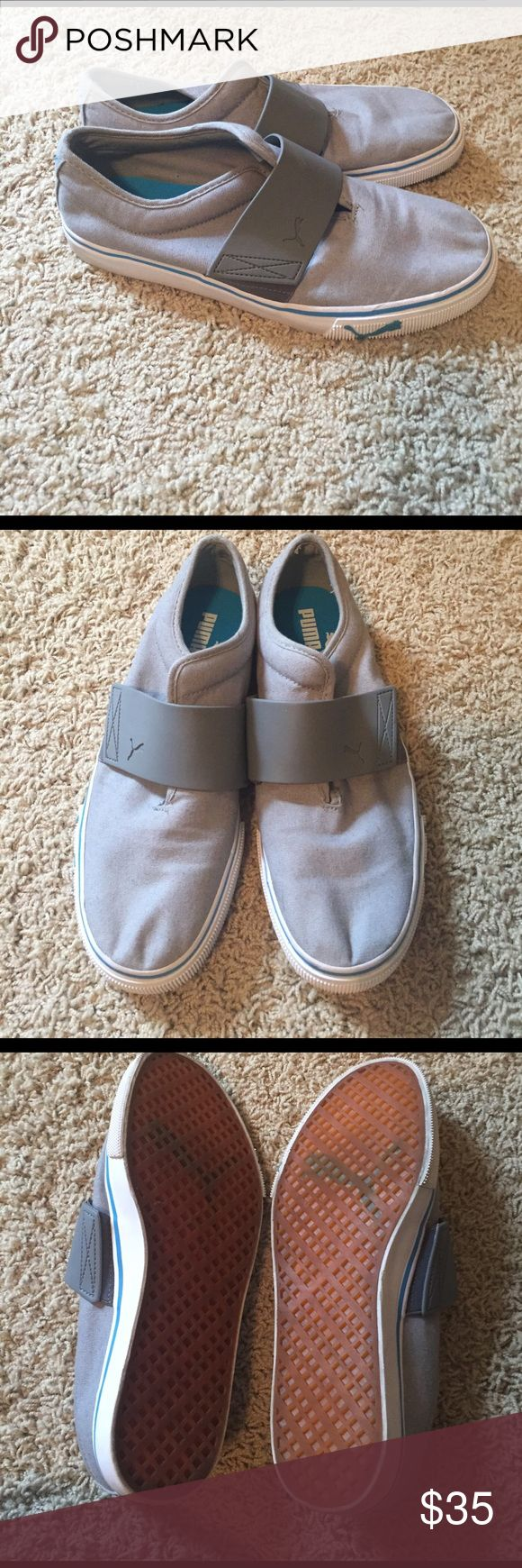 ✅SALE PUMA slip-on shoes for men Excellent condition. Worn once. Light gray with white soles. Very comfy. Puma Shoes Loafers & Slip-Ons