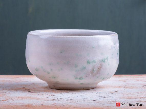 Chawan Tea Bowl with Spring Snow Glaze Decoration - Stoneware Pottery