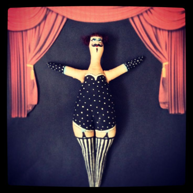 Lady mustache #sewing #doll #dolls #tattoo #tattoogirl #dollart #painting #circus
