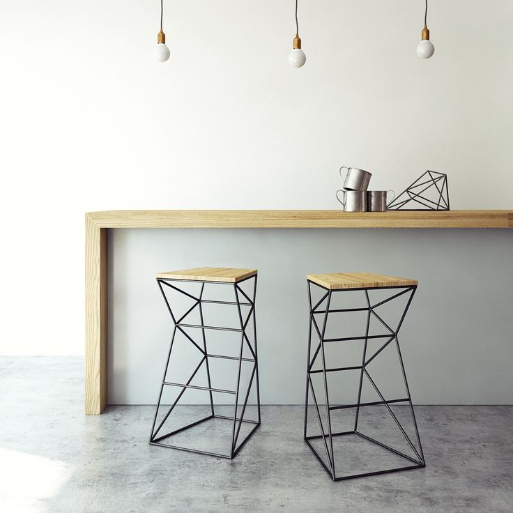 Chaises hautes, bois et acier noir. - High chairs , wood and black steel.