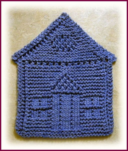 knitted house shaped dishcloth