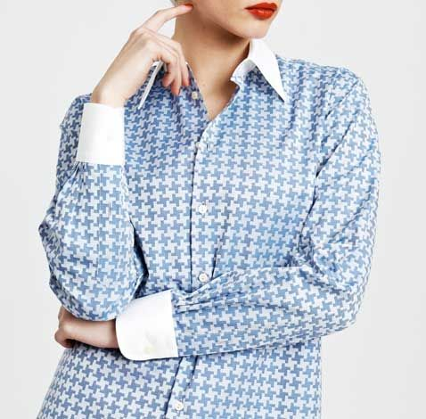 Our hero shirt inspired by our favourite literary shirt wearer, Mr. Darcy. The Darcy is a loose cut shirt buttoning to the mans side. Featuring an exaggerated houndstooth pattern which is offset with a contrast white collar and cuffs.