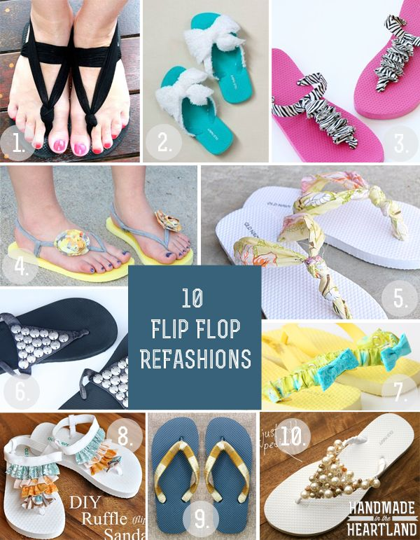 Flip flop style | #Upcycle flip flop fashion | Flip flip roundup via @Handmade in the Heartland