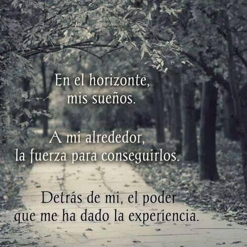 En el horizonte mis #sueños  a mi alrededor la #fuerza para conseguirlos  y detrás de mi el poder que me ha dado la experiencia.  #Frases