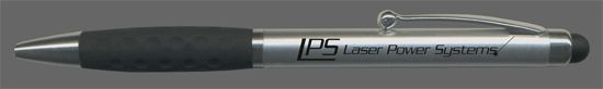 Stylo à bille pour entreprise à système rotatif, corps satiné argent, surface de préhension en gomme, avec embout en silicone pour l'utilisation sur écran tactile, corps en plastique. Stylos personnalisés entreprise.
