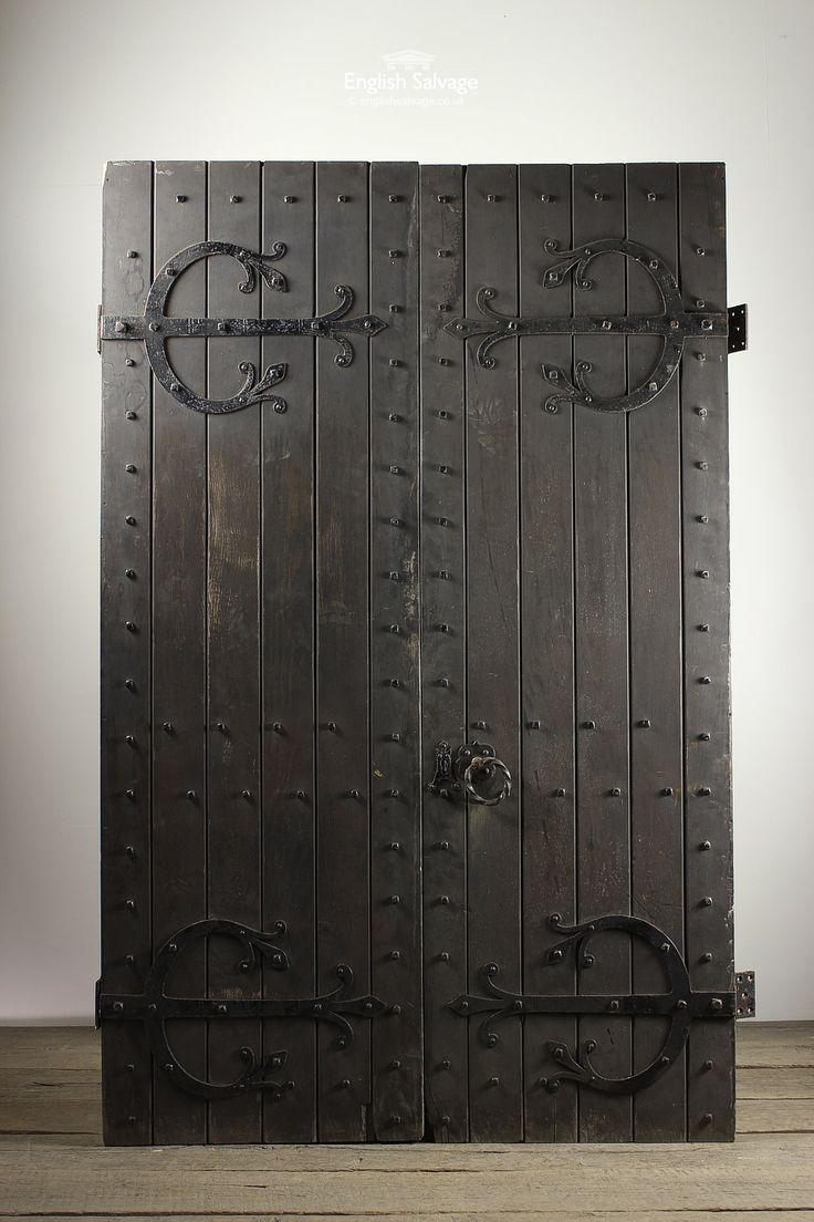 reclaimed double oak front doors with studs