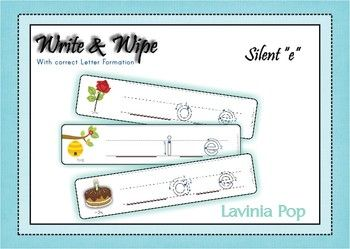 Write and Wipe - Silent e cards {FREE} with correct letter formation  Free printable Write and Wipe - Silent e cards... a fun way for children to explore what the silent e does to the first vowel! They will also have fun making up words with these cards, then recording them on the recording sheet provided!  Happy Teaching :)