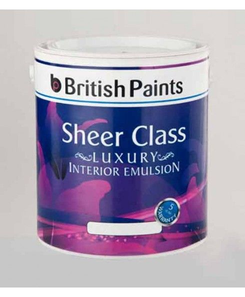British Paints Sheer Class Luxury Interior Emulsion, Specifications: Colour-White(Gr-I), Thinner-Municipal/Potable water, Consistency-Thick and Buttery, Spreading Capacity- 170-180 Sq feet per ltr, Finishing-Smooth Matt With Slight Sheen, Warranty- As Per Manufacturer's Warranty Policy, Quantity-1 Litre, Minimum Order Quantity-2