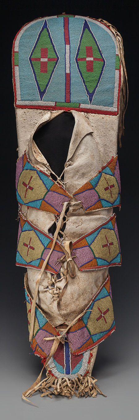 American Indian Art:Beadwork and Quillwork, A RARE CROW BEADED HIDE CRADLEBOARD hi... Image #2