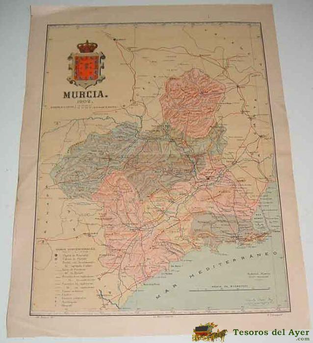 MAPA DE LA PROVINCIA DE MURCIA 1902 - PROCEDENTE DEL ATLAS GEOGRAFICO IBERO-AMERICANO - ESPAÑA Y PORTUGAL - BAJO LA DIRECCION DE D. BENITO CHIAS CARBO, DESCRIPCION GEOGRAFICA Y ESTADISTICA DE PORTUGAL Y SUS COLONIAS POR J. GARBAJOSA DE BETTENCOURT - ED.