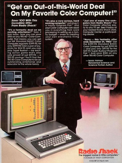 radio shack computers commercial with Isaac Asimov