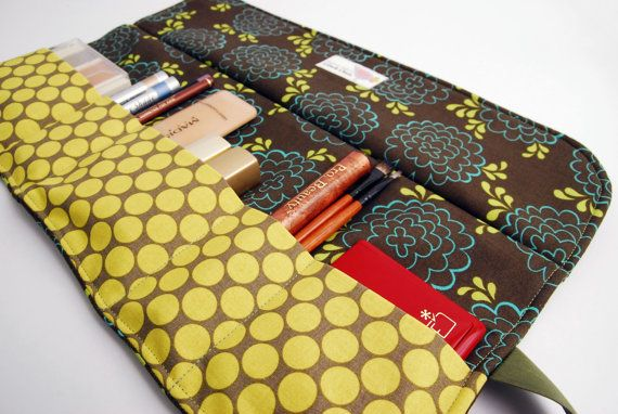 Makeup bag organizer in brown and Green makeup roll by LilachOren, $25.00