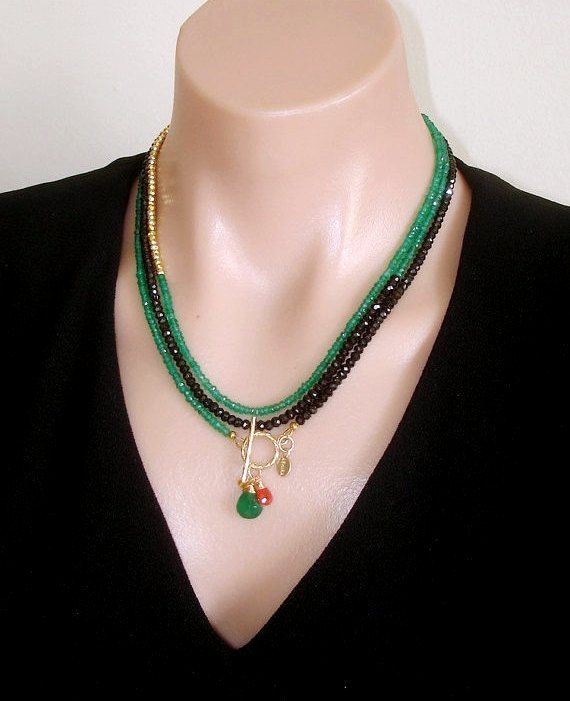 Ashira Black Spinel and Natural Green Onyx, Gold Pyrite Gemstone Necklace with Charms - One of a Kind, wrap necklace    • One-of-a-kind piece by