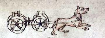 Abb. seltenes Beispiel eines karrenziehenden Hundes. Bildquelle: Der welsche Gast. Thomasin von Zerclaere. Cod. Pal. germ. 389. Bayern, um ...http://www.brandenburg1260.de/