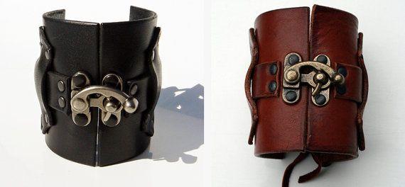 Hook Latch Leather Cuff Bracelet Steampunk by SexySkinsLeather