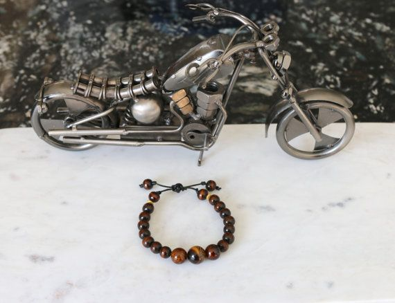 Men's Leather Tiger Eye and Wood Bead Bracelet with by JazzyandCo