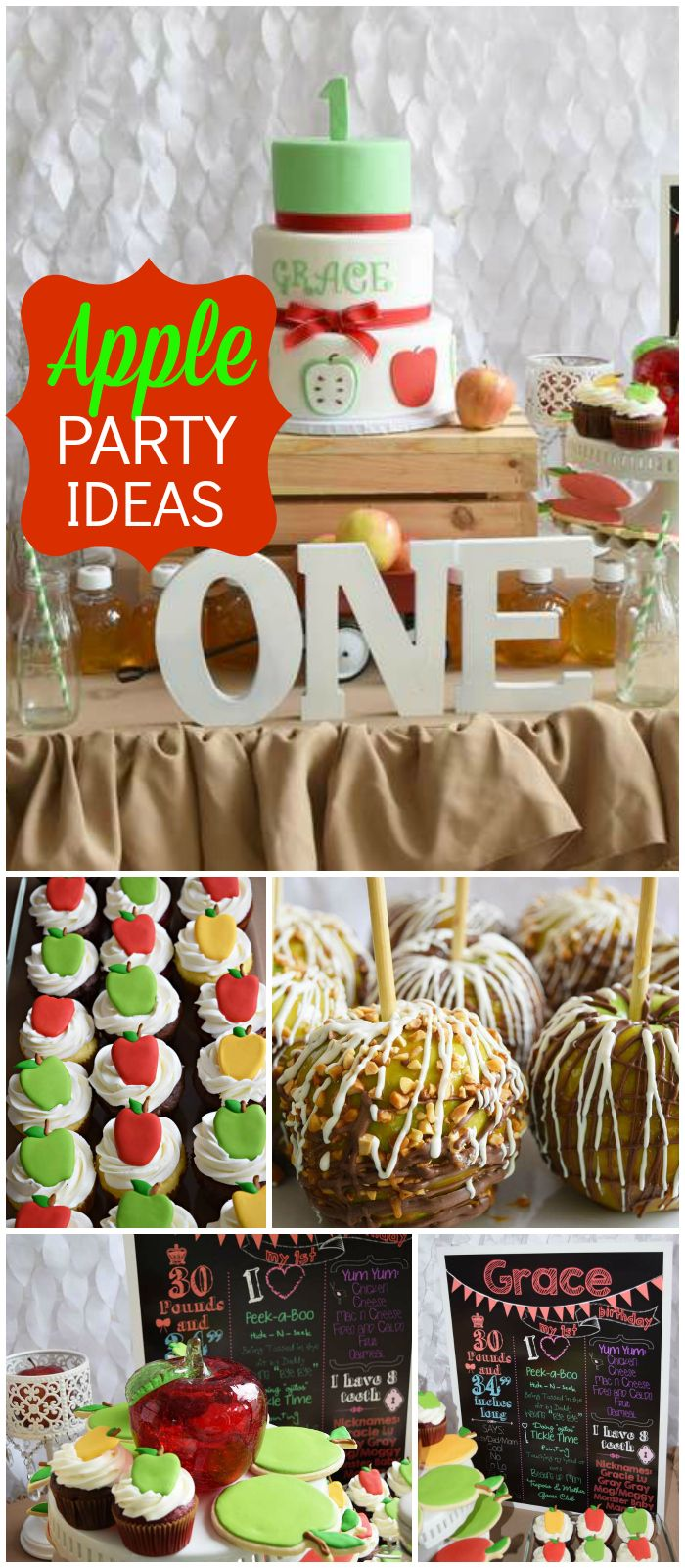 Love this rustic apple party! Caramel apples and a chalkboard sign! See more party planning ideas at CatchMyParty.com!