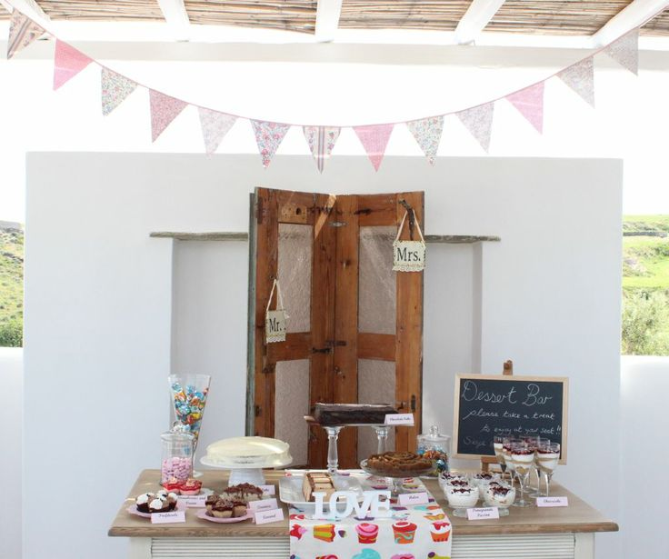 Bunting inspired dessert table, lovely addition to a reception!