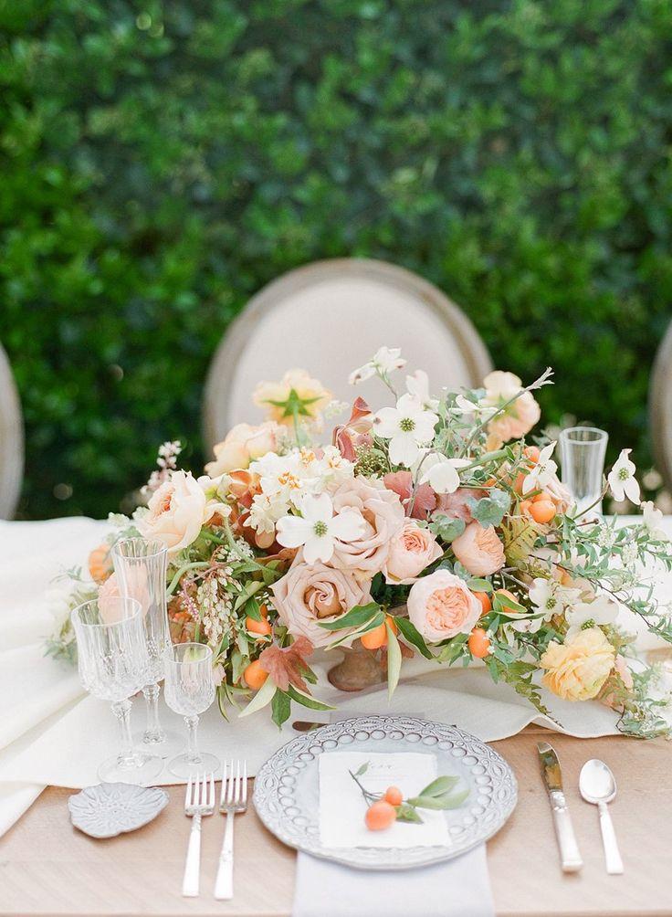 Modern Vintage Peach Wedding Floral Centerpiece