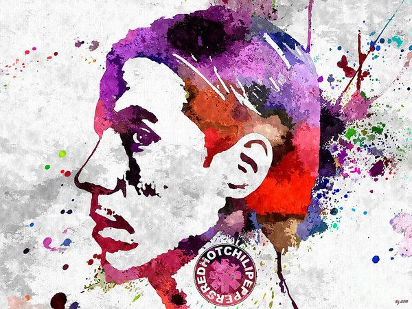 The Chili Peppers Anthony Poster featuring the mixed media The Chili Peppers Anthony Grunge by Daniel Janda