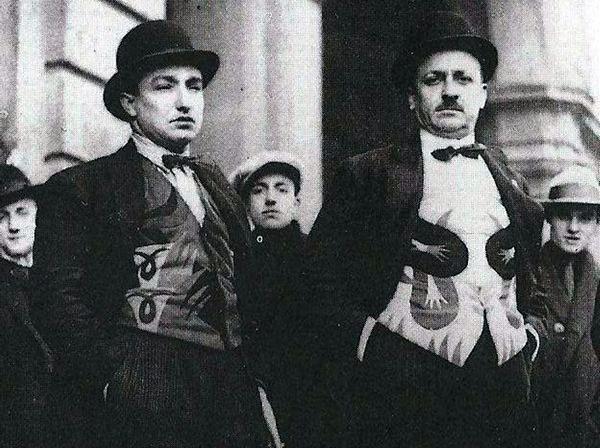 Futurist fashion. Fortunato Depero and Tommaso Marinetti wearing bright coloured waistcoats