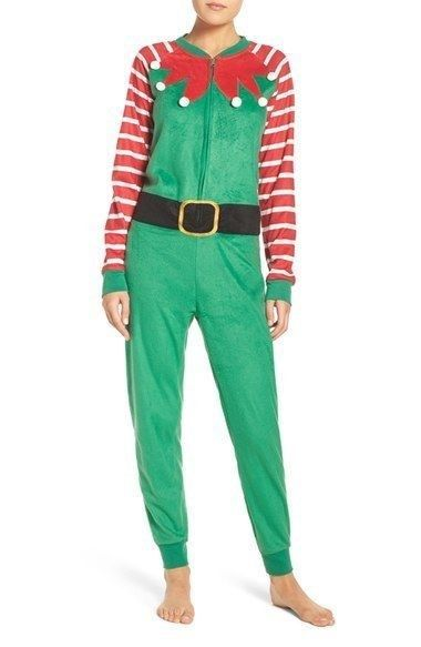 35.91$  Buy now - http://vihkw.justgood.pw/vig/item.php?t=pp332ev56939 - Cozy Zoe Christmas Holiday Pictures One Piece Green Elf Pajamas Size Large NWT 35.91$