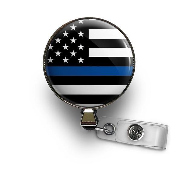 Thin Blue Line Retractable ID Badge Reel