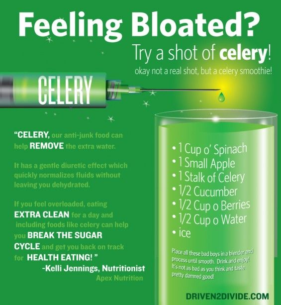 go green. Instead of this smoothie, try juicing celery and cucumber into 4 oz of freshly squeezed apple juice (the amount from 1 apple) and watch the bloat go belly up