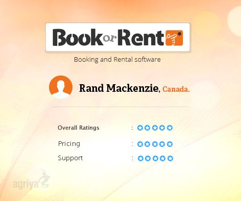 "5 star review for BookorRent  A word from Rand Mackenzie about Agriya's #Booking and #Rental software  ""Great product ready to go out of the box""  For more BookorRent reviews: http://customers.agriya.com/products/bookorrent/reviews"