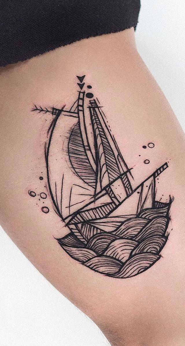 Water ocean tattoos boat