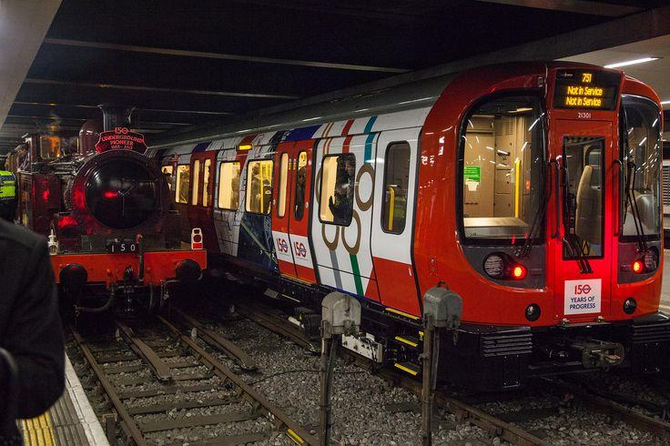 Metropolitan No.1 and Tube 150 wrapped Tube train at Moorgate station.
