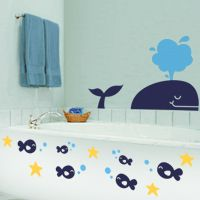 So cute decal for the kids' bathroom!