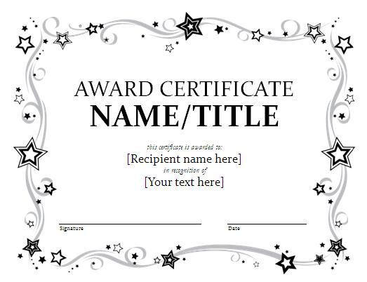 25 best ideas about Award certificates – Blank Award Templates