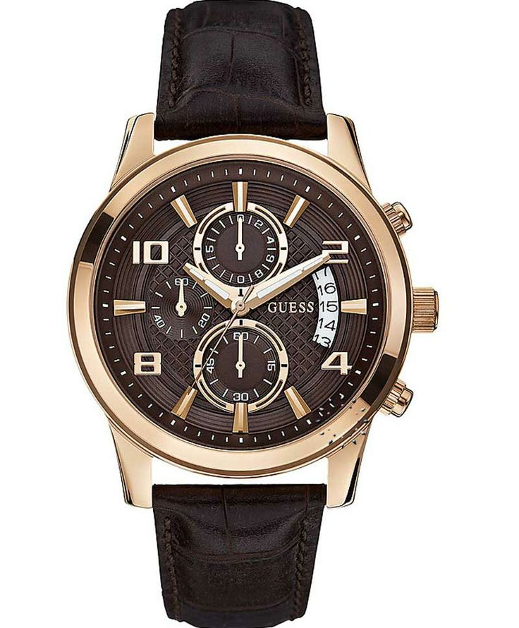 GUESS Exec Chronograph Brown Leather Strap Μοντέλο: W0076G4 Η τιμή μας: 194€ http://www.oroloi.gr/product_info.php?products_id=39293