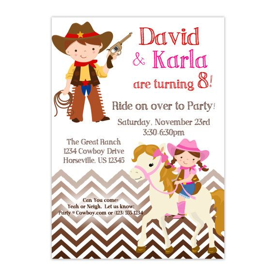 Cowboy Invitation - Brown Chevron Twin Boy Girl, Cowboy and Cowgirl on Horse Personalized Birthday Party Invite - a Digital Printable File on Etsy, $15.00