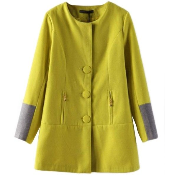 Yellow Elegant Womens Patchwork Color Block Trench Tweed Coat (£29) ❤ liked on Polyvore featuring outerwear, coats, yellow, tweed wool coat, green tweed coat, yellow trench coat, green trench coat and green coat